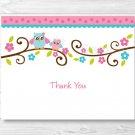 Pink Owl Thank You Card Printable #A162
