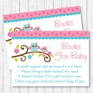 Pink Woodland Owl Printable Baby Shower Book Request Cards #A162