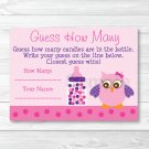 """Pink & Purple Owl Baby Shower """"Guess How Many?"""" Game Cards Printable #A133"""