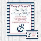 Nautical Anchor Navy Blue & Red How Big Is Mommys Belly Baby Shower Game #A259