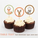 Woodland Forest Animals Cupcake Toppers Party Favor Tags Editable PDF #A191