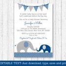 Navy Blue & Grey Chevron Elephant Printable Baby Shower Invitation Editable PDF #A373