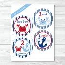 Nautical Crab Monthly Milestone DIY You Print PDF Stickers & Iron On Transfers #A182
