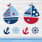 Nautical Sailboat Blue & Red Party Cutouts Decorations Printable #A123