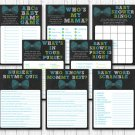 Bow Tie Chalkboard Baby Shower Games Pack - 8 Printable Games #A382