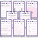Pink & Purple Butterfly Baby Shower Games Pack - 8 Printable Games #A220