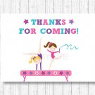 Gymnastics Party Favor Thank You Tags #A383