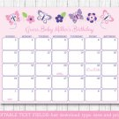Pink & Purple Butterfly Baby Due Date Calendar Editable PDF #A220