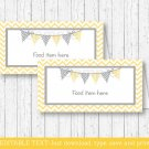 Yellow Chevron Buffet Tent Cards & Place Cards Editable PDF #A356