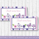 Pink & Purple Butterfly Buffet Tent Cards & Place Cards Editable PDF #A220
