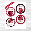 Little Red Ladybug Monthly Milestone DIY You Print PDF Stickers & Iron On Transfers #A177