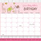 Safari Girl Jungle Animals Baby Due Date Calendar Editable PDF #A229