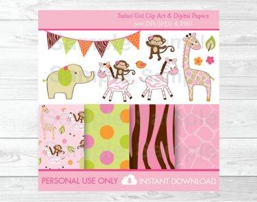 Safari Girl Jungle Animals Clipart & Digital Paper #A229