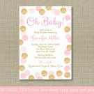 Oh Baby Blush Pink & Gold Glitter Printable Baby Shower Invitation Editable PDF #A380