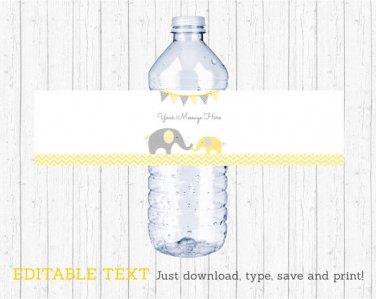 Yellow Chevron Elephant Water Bottle Labels Printable Editable PDF #A181