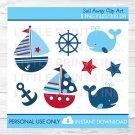 Nautical Sailboat Whale Clipart #A123