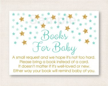 Twinkle Little Star Mint Green Gold Printable Baby Shower Book Request Cards #A381