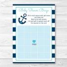Nautical Anchor Printable Baby Shower Bingo Cards #A222