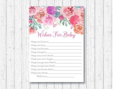 Pink Watercolor Flowers Printable Baby Shower Wishes For Baby Advice Cards #A385