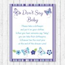 Lavender Butterfly Garden Dont Say Baby Baby Shower Game Printable #A218