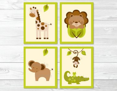 Baby Safari Lion Monkey Elephant Giraffe Printable Nursery Wall Art #A109