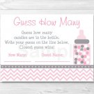 """Modern Pink Chevron Printable Baby Shower """"Guess How Many?"""" Game Cards #A127"""