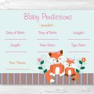 Woodland Girl Fox Baby Shower Baby Predictions Game Cards Printable #A244