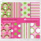 Girl Monkey Pink Stripes Dots & Chevron Digital Paper #A167
