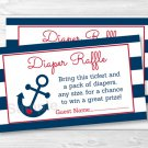 Nautical Anchor Blue & Red Printable Baby Shower Diaper Raffle Tickets #A259