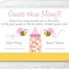 "Pink Bumble Bee Printable Baby Shower ""Guess How Many?"" Game Cards #A101"