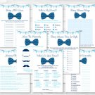 Chevron Bow Tie Baby Shower Games Pack - 8 Printable Games #A369