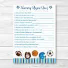 Sports Football Baseball Soccer Baby Shower Nursery Rhyme Quiz Game Printable #A119