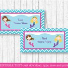 Mermaid Pool Party Buffet Tent Cards & Place Cards Editable PDF #A363
