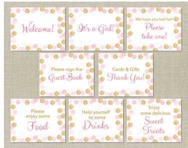 Blush Pink & Gold Glitter Dots Baby Shower Table Signs - 8 Printable Signs #A380