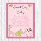 Safari Girl Pink Jungle Animals Dont Say Baby Baby Shower Game Printable #A229