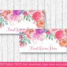Pink Watercolor Flowers Buffet Tent Cards & Place Cards Editable PDF #A385
