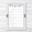 Purple & Grey Chevron Printable Baby Shower Wishes For Baby Advice Cards #A370