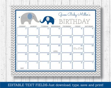 Navy Blue & Grey Chevron Elephant Baby Due Date Calendar Editable PDF #A373