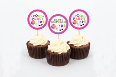 Girls Pool Party Printable Cupcake Toppers Party Favor Tags #A349
