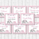 Pink Chevron Elephant Baby Shower Table Signs - 8 Printable Signs #A186