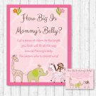 Safari Girl Pink Jungle Animals How Big Is Mommys Belly Baby Shower Game #A229