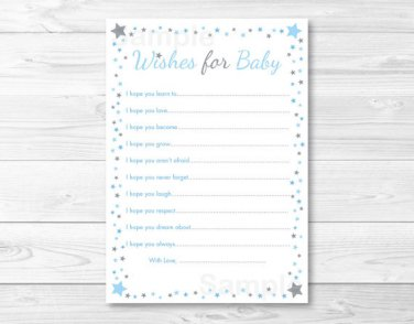 Blue Twinkle Star Printable Baby Shower Wishes For Baby Advice Cards #A362