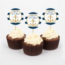 Nautical Gold Anchor Printable Cupcake Toppers Party Favor Tags #A365