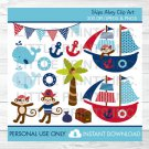 Nautical Monkey Pirate Whale Clipart #A287