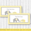 Yellow Chevron Elephant Buffet Tent Cards & Place Cards Editable PDF #A181