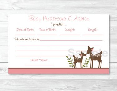 Pink Willow Deer Baby Shower Baby Predictions Game Cards Printable #A200