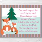 Woodland Girl Fox Printable Baby Shower Book Request Cards #A244