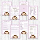 Purple Monkey Baby Shower Games Pack - 8 Printable Games #A388