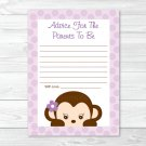 Purple Monkey Printable Baby Shower Mommy Advice Cards #A388