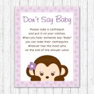 Purple Monkey Dont Say Baby Baby Shower Game Printable #A388